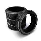 3d pneumatiky na bílém pozadí — Stock fotografie