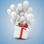 3d balloons and present box — Stock Photo