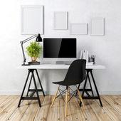3d modern dator arbetsplatsen — Stockfoto