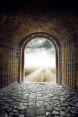 Gate opening to endless road leading nowhere — Stock Photo
