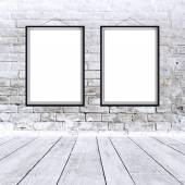 Two blank vertical paintings poster in black frame — Stock Photo