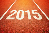 2015 on athletics all weather running track — Stock Photo