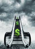 Dollar symbol on escalators — Stock Photo