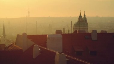 View of the Prague city, Czech republic, panorama in the early morning — Stock Video