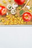 Garlic Parsley Mushroom tomato Pasta Recipes — Stock Photo