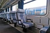 Passenger train interior with empty eats — Stockfoto