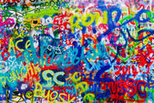 John Lennon Graffiti Wall on Kampa Island in Prague — Stock Photo