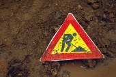 Man at Work road sign — Stock Photo