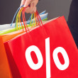 Discount Percentage Symbol on Red Shopping Bag — Stock Photo #59155123