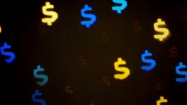 Colorful defocused blinking dollar sign bokeh festive lights as abstract background — Stock Video