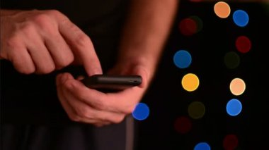 Caucasian white male hands holding smart phone device with touch screen — Stock video