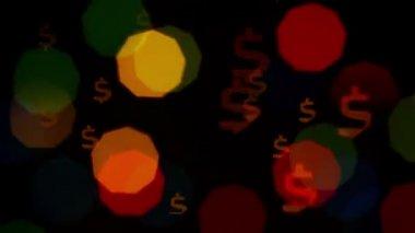 Colorful defocused blinking dollar sign bokeh festive lights — Stock Video