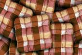 Plaid Brown Cushions — Stock Photo