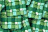 Plaid Green Cushions — Stock Photo