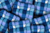 Plaid Blue Cushions — Stock Photo