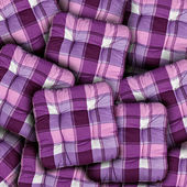 Plaid Purple Cushions — Stock Photo