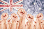 Mouvement de l'Australie du travail, grève Syndicat des travailleurs — Photo