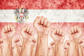 Austria Labor movement, workers union strike — Stock Photo