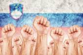 Slovenia Labour movement, workers union strike — Fotografia Stock