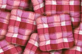 Plaid Red Cushions — Stock Photo