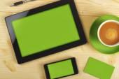 Tablet Pc, cellulare e biglietto da visita — Foto Stock