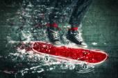 跳跃的滑板手 — 图库照片