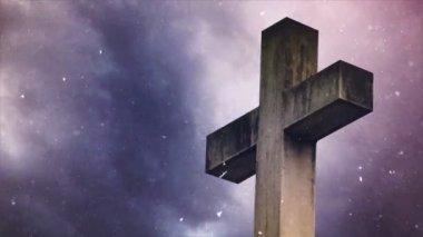 Croix du cimetière lors de chutes de neige — Vidéo