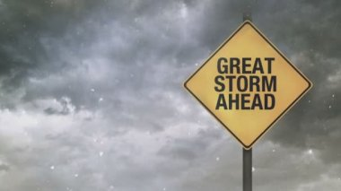 Great Storm Ahead Warning Sign — Stock Video