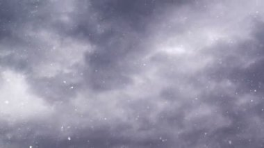 Turbulent snowfall from dark gray clouds — Stock Video