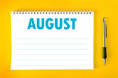 August Calendar Blank Page — Stock Photo
