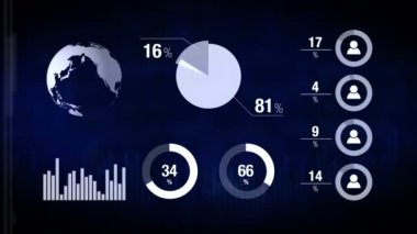 Various Animated Infographics Charts as Technology, Science, Data Analysis, Business, Finance or Economy illustrative background — Stock Video