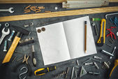 Assorted Do It Yourself Tools and Notebook — Stock Photo