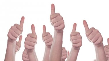 Group of Caucasian white People making Hand Thumbs Up sign as Like, Approval or Endorsement Concept — Stok video