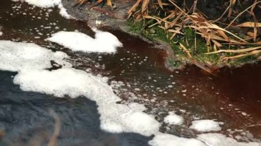River Water Pollution And Contamination from Chemical Industry Factory Sewage — Stock Video