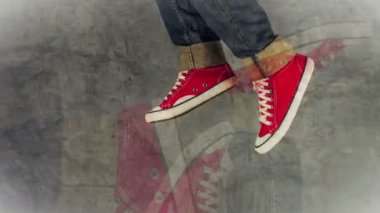 Loopable Stop Motion Animation of Young Person in Jeans and Red Sneakers Running — Stock Video