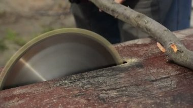 Man Cutting Wood with Rudimentary Electric Power Table Circular Saw, Handheld Steady Shot with Selective focus, Sound Included — Stock Video