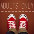 Adults Only Concept, Person Standing at Dividing Line — Stock Photo #69066473