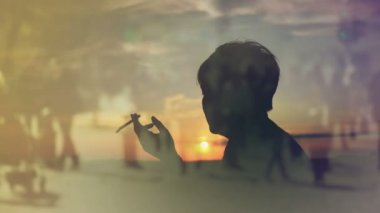 Silhouette of a Woman Smoking Cigarette in Sunset, Thinking About the Past Times, 1920x1080 full HD — Stock Video