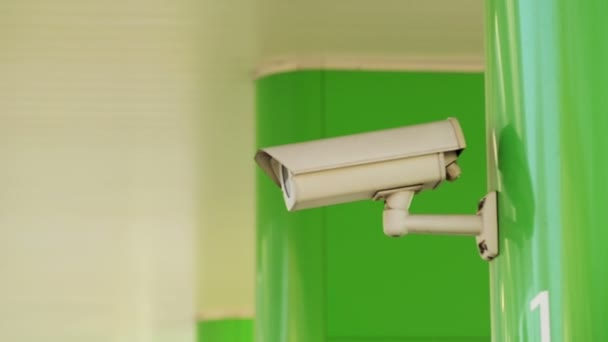 Industrial Security CCTV Camera Mounted on the Building Wall as a Part of Property Protection System with Sunlight and Flare — Vidéo