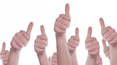 Group of Caucasian white People making Hand Thumbs Up sign as Like, Approval or Endorsement Concept, 1920x1080 steady full HD footage — Stock Video