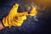 Funny Smileys on Fingers, Gun Fire — Stock Photo