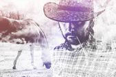 Cowboy Farmer wearing Straw Hat on Horse Ranch — Stock Photo