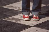 Young Teenage Female Standing on the Street — Stock Photo