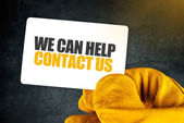 We Can Help on Business Card — Stock Photo