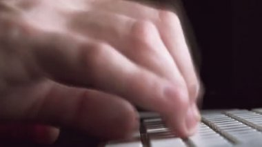 Male Hands on Computer Keyboard in Dark Room, Fast Typing — Stock Video