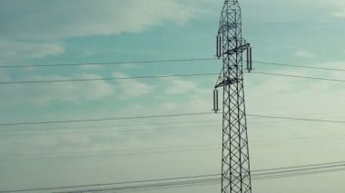 Electric Poles Dry Way, Shot from the Vehicle in Motion — Stock Video