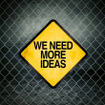 We Need More Ideas Grunge Yellow Warning Sign — Stock Photo #72430901