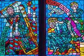 Prague Saint Vitus Religious Vitrage Windows — Stock Photo