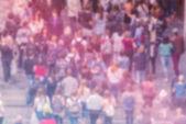 Algemene publieke opinie achtergrond, luchtfoto van menigte wazig — Stockfoto