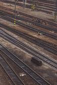 Aerial Top View of Intersecting Rails — Stock Photo